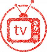 Retro tv set icon with hand drawn lines texture.