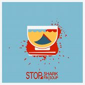 No Blood Shark Finning Soup.vector Poster Illustration