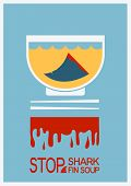 No Shark Finning Soup.vector Poster Illustration