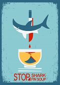 Stop Fin Soup.vector Poster On Old Paper Texture