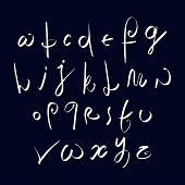 Hand written handwritten font, stylish drawn alphabet letters set.