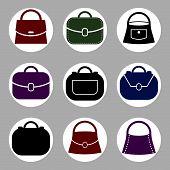 Bag icons set of 9 examples, fashion theme symbols collection.