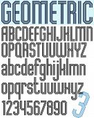 Poster retro light striped font, bright condensed geometric uppercase letters on white background.