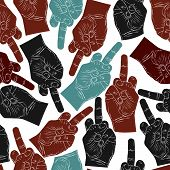 Middle finger hands seamless pattern, background for textile or other design.