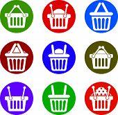 Shopping basket icons isolated on white background set, supermarket shopping simplistic symbols
