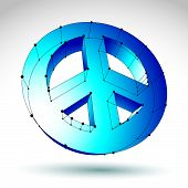 3d mesh blue peace icon isolated on white background, colorful lattice peace symbol from 60s