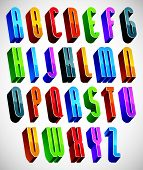 3d font, tall thin letters, geometric dimensional alphabet made with round shapes