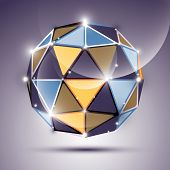 Abstract 3D Gleam Sphere With Geometric, Glossy Orb Created From Triangles, Eps10. Nightclub And Eve