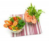 Fresh Vegetable Salad With Shrimp On A White Background