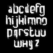 Lowercase white grunge brush letters, hand-painted vector alphabet.