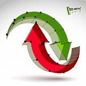 3d mesh stylish web update sign isolated on white background, colorful lattice renew icon