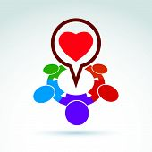 Heart and society icon, medical organization, medical fund, love theme, conceptual special icon for