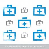 pic of freehand drawing  - Set of brush drawing simple blue first aid kit medicine icons created with real hand - JPG