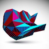 Bright Decorative Distorted Unusual Eps8 Figure With Parallel Lines. Striped Multifaceted Asymmetric