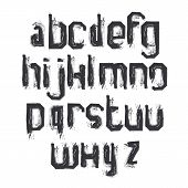Vector Alphabet Letters Set, Hand-drawn Monochrome Script, Dirty Brushed Small Letters.