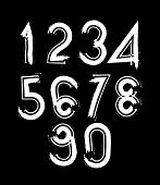 White handwritten numbers, vector doodle brushed figures, hand-painted set of numbers with brushstro