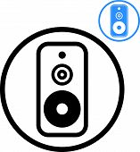 Audio speaker icon isolated, music theme symbol for your design, 2 versions set.