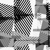 Black and white seamless pattern with parallel lines and geometric elements