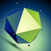 Colorful Triangular Abstract 3D Illustration, Vector Digital Lattice Complicated Object