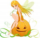 Illustration of cute fairy holding pumpkin