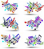 stock photo of rainbow piano  - Bright jolly vector staves with musical notes on white background - JPG