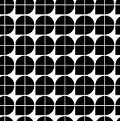 Black and white abstract geometric seamless pattern, contrast illusory regular background.