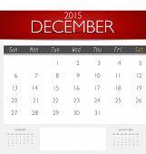 Simple 2015 calendar, December. Vector illustration.