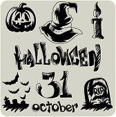 Hand Drawn Halloween Sketch Set