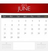 Simple 2015 calendar, June. Vector illustration.