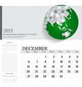 Simple 2015 calendar, December. Vector illustration.