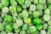 Frozen green peas. Close up.