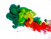 Colorful ink in water, abstract shape background.