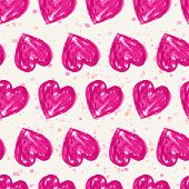 Romantic Seamless Pattern With Watercolor Hearts. Vector Illustration