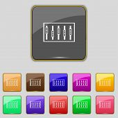 Dj console mix handles and buttons, level icons. Set of colour buttons. Vector