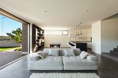 Architecture modern design, interior, living room with kitchen