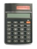 Calculator (close up) on white background - isolated