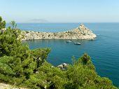 Lagoon and boats in Crimea