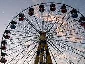 silhouette of wheel (attraction) on evening