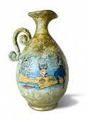 Old Greece vase (amphora) with drawing, isolated