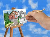 Hand with brush, house on paper, sky
