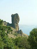 Stony figure and sea in Crimea