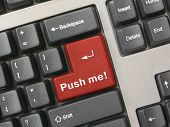 Keyboard - red key Push me, closeup