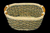 Empty wooden basket, isolated on black background