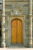 Wooden door in old castle