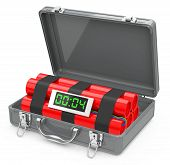 stock photo of time-bomb  - 3d generated picture of a time bomb inside a suitcase - JPG