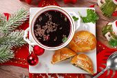 Red Borscht And Pastries For Christmas Eve