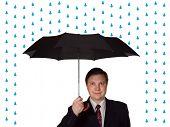Men and umbrella, isolated on white background
