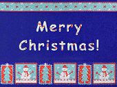 Merry Christmas, snowman and snowflakes - textile background