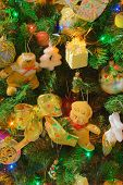 Decorated Christmas tree, celebration background