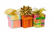 Three gifts, isolated on white background